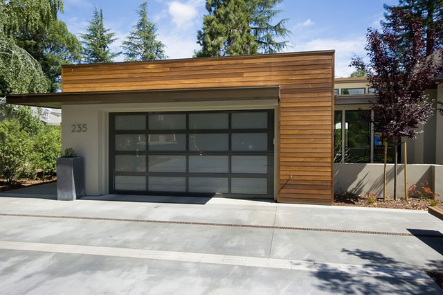 Georgia Pacific Vinyl Siding Garage and Shed Contemporary with Concrete Paving Container Plants