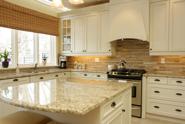 Giallo Ornamental Kitchen Traditional with Cream Granite Granite Countertops1