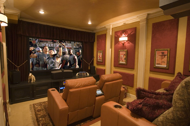 gladiator cabinets Home Theater Contemporary with area rug ceiling lighting