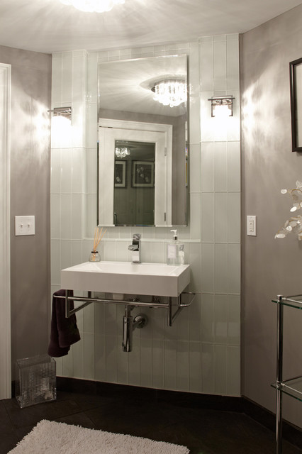 Glass Subway Tile Bathroom Contemporary with Ceiling Light Chrome Tagre