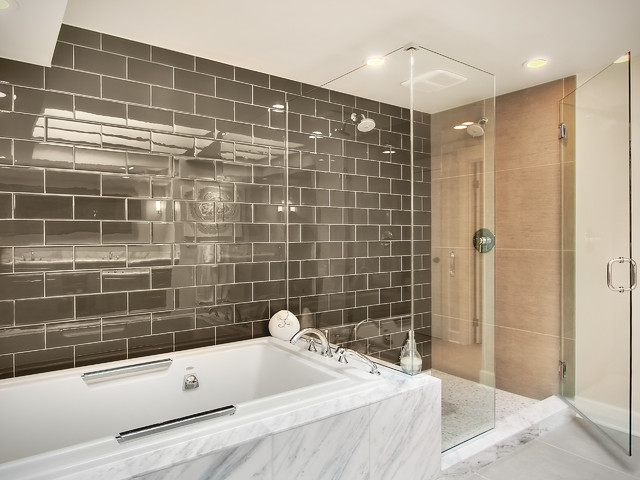 Glass Subway Tile Bathroom Contemporary with Chrome Glass Shower Enclosure