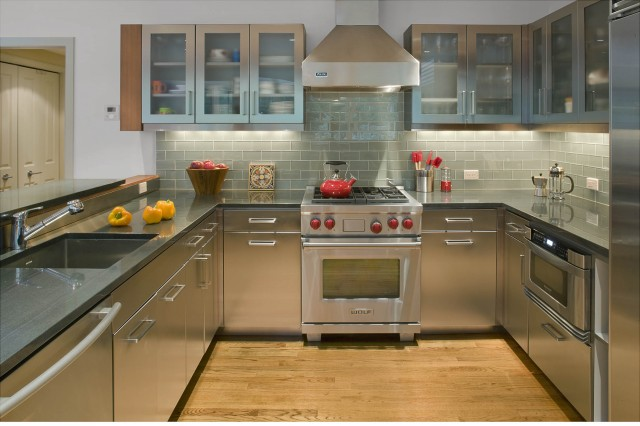 Glass Subway Tile Kitchen Contemporary with Frosted Glass Gray Hardwood
