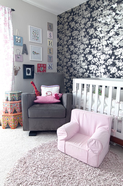 Glider Rocking Chair Nursery Shabby Chic with Accent Wall Floral Wallpaper