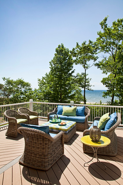 gloster furniture Deck Traditional with blue blue and green