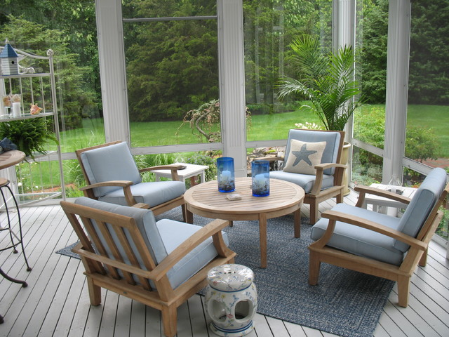 Gloster Furniture Porch Traditional with Area Rug Blue Candle