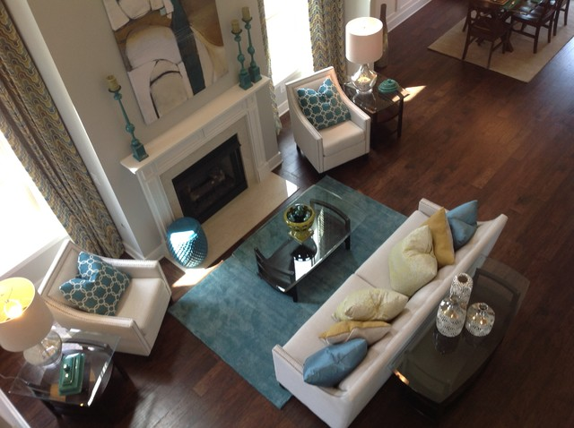 Goodall Homes Family Room Transitional with Classic Home Furnishings Custom