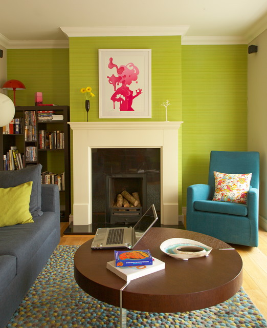 goodall homes Living Room Eclectic with accent wall area rug