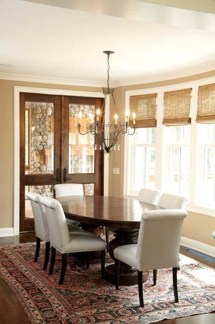 Graber Blinds Dining Room Traditional with Area Rug Chandelier Dark