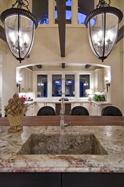 Granite Composite Sinks Kitchen Traditional with Bell Pendants Breakfast Bar