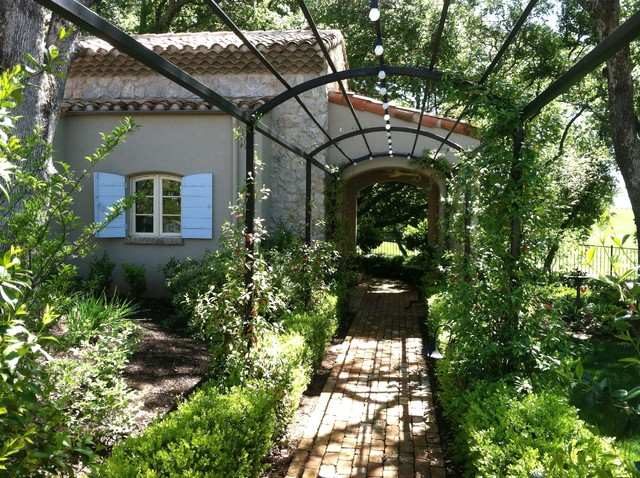 Grape Arbor Landscape Farmhouse with Arbor Brick Iron Path