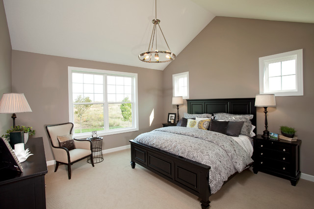 greige paint Bedroom Traditional with beige armchair beige carpet