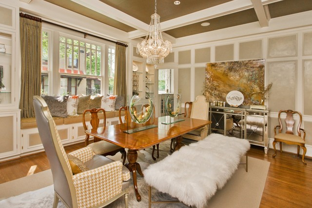 Greige Paint Dining Room Eclectic with Brown Ceiling Coffered Ceiling