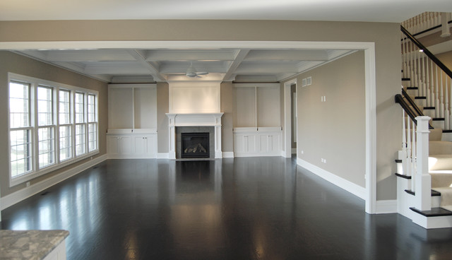 Greige Paint Family Room Traditional with Built in Cabinets Coffered Ceilings1