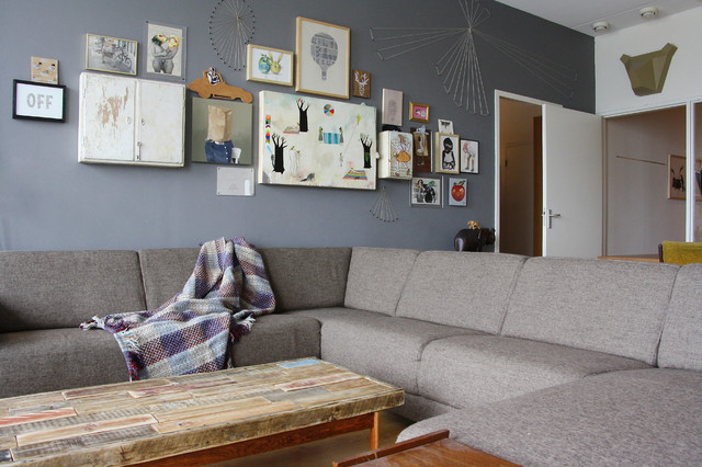 Grey Sectional Sofas Family Room Eclectic with Art Collection Gallery Wall