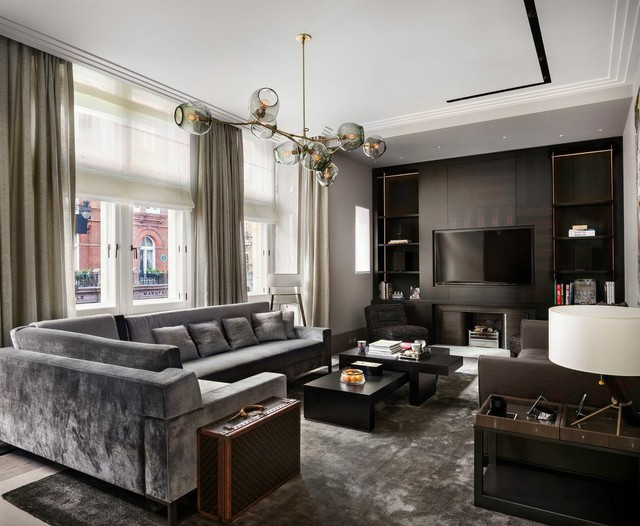 Grey Sectional Sofas Living Room Contemporary with Built in Cabinets Chandelier