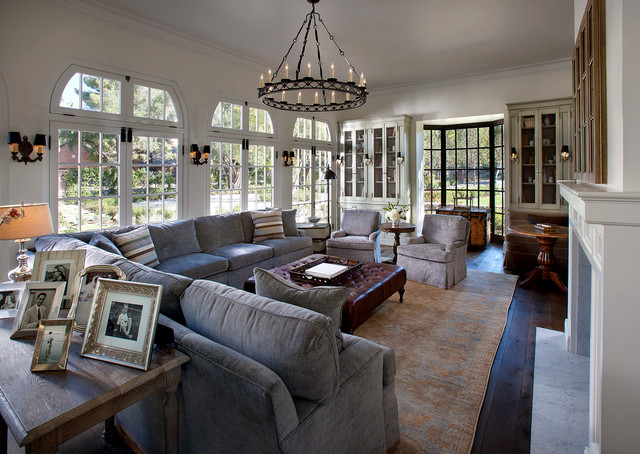 Grey Sectional Sofas Living Room Traditional with Black Chandelier Brown Leather