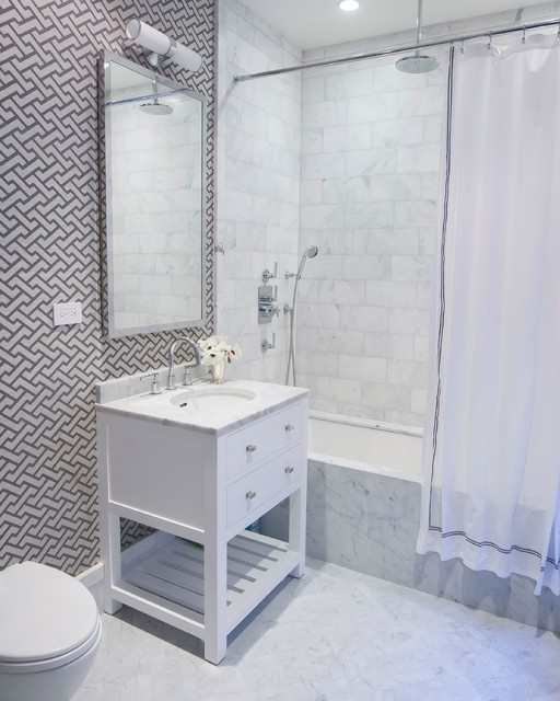 Hand Held Bidet Bathroom Contemporary with Accent Wall All Marble