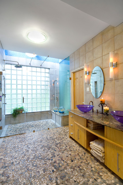 handicap showers Bathroom Modern with ceiling lighting double sinks