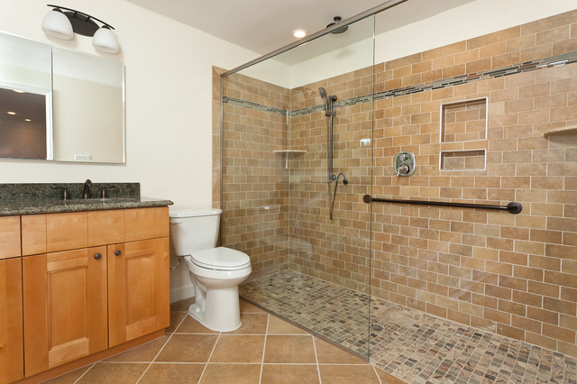 Handicap Showers Bathroom Transitional with Build in Shelves Glass Shower