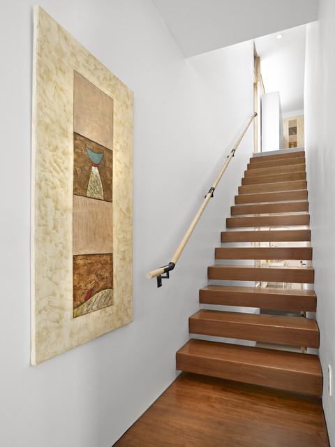 handrail brackets Staircase Modern with artwork floating staircase maple