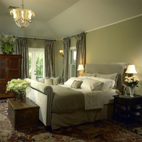 Hanging Curtain Rods Bedroom Traditional with Area Rug Bed Bedside