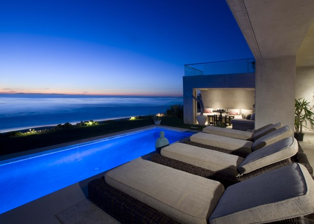 hardtop gazebo Pool Contemporary with accent lighting balcony concrete