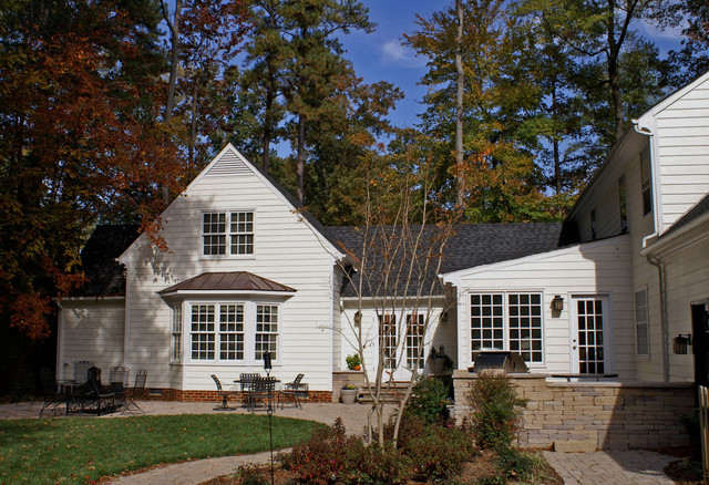 hardy plank Exterior Traditional with bay window french doors