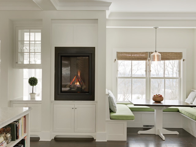 heat and glo fireplace Kitchen Transitional with banquette banquette seating breakfast