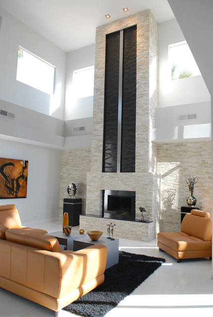 Heat and Glo Fireplace Living Room Contemporary with Accent Lighting Artwork Black