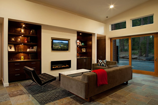 Heat N Glo Family Room Contemporary with Area Rug Barcelona Chair