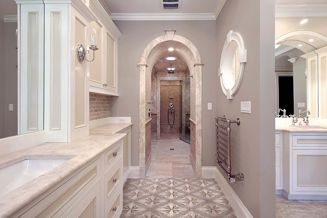 Heated Towel Rack Bathroom Traditional with Arched Doorway Barrel Vault1