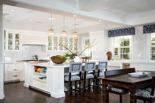 Hermitage Lighting Kitchen Traditional with Blue Roman Shades Cherry
