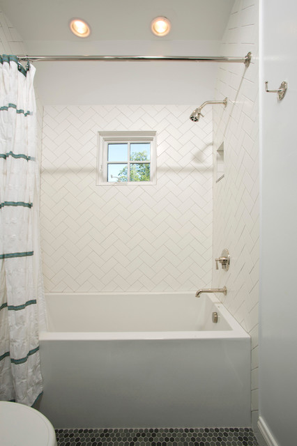 herringbone tile pattern Bathroom Traditional with aia architect Alexandria Architect