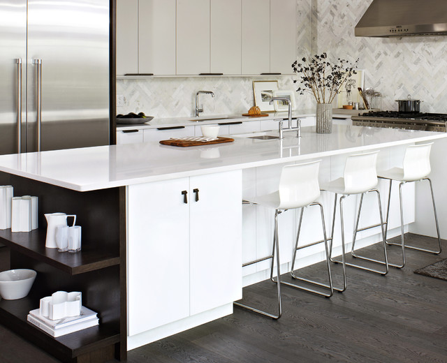 Herringbone Tile Pattern Kitchen Modern with Breakfast Bar Dark Floor