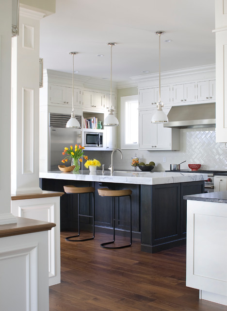 Herringbone Tile Pattern Kitchen Traditional with Counter Stools Hardwood Floor