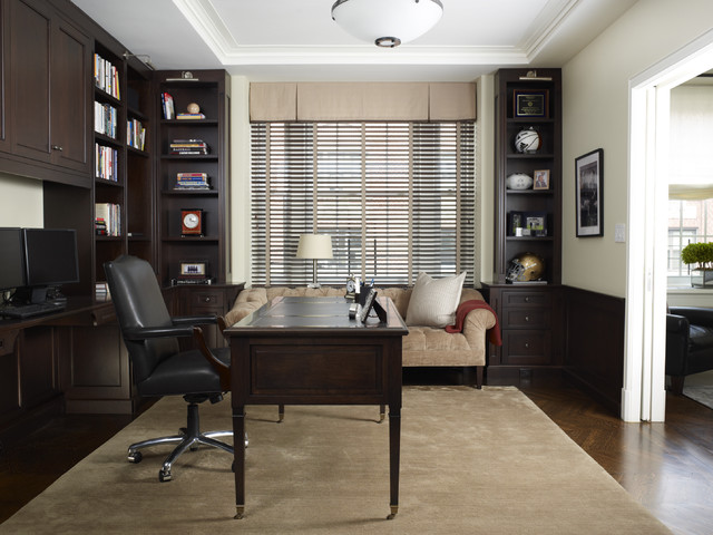 Hideabed Home Office Traditional with 2 Desk Areas Beige