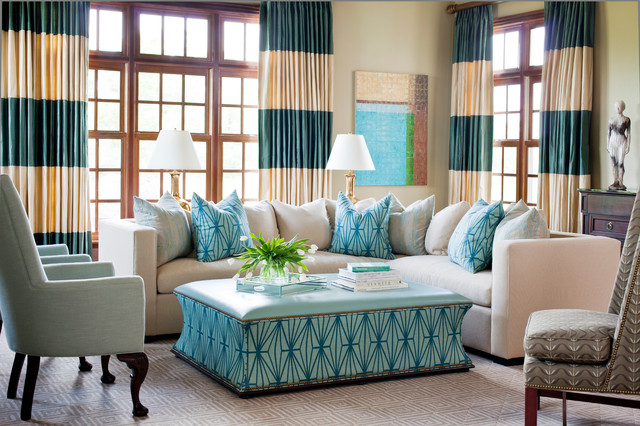 Horizontal Striped Curtains Living Room Traditional with Beige Sectional Beige Sofa