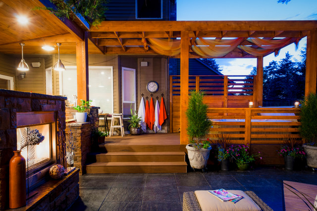 Hot Tub Enclosures Patio Contemporary with Ambiance Lighting Arbors Beige