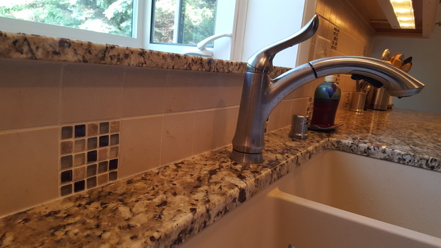 Houzer Sinks Kitchen Transitional with Arctic Stainless Backsplash Tile