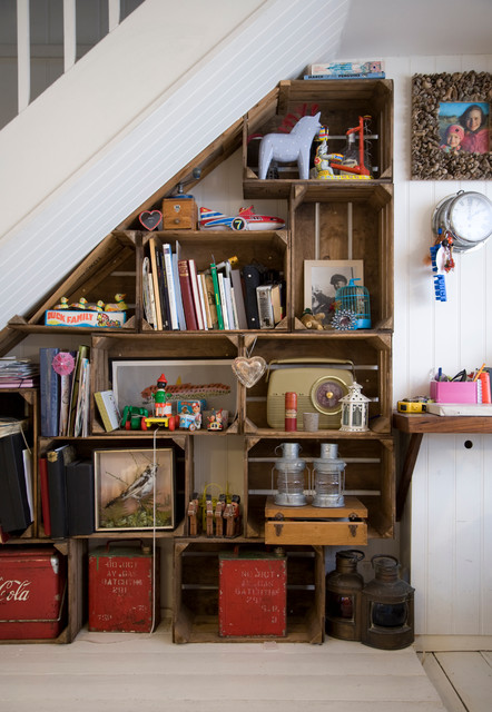how to fix garbage disposal Hall Shabby-chic with custom shelving english cottage