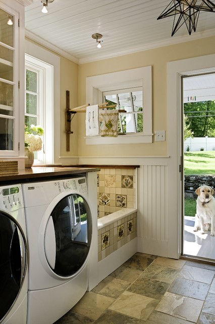 How to Fix Garbage Disposal Laundry Room Traditional with Back Door Bead Board