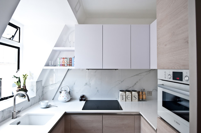 How to Install Backsplash Kitchen Contemporary with Bosch Compact Kitchen Galley