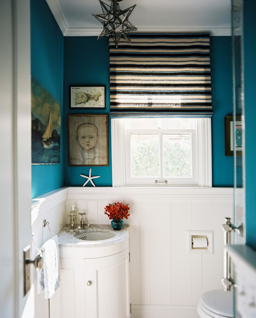 How to Install Wainscoting Powder Room Eclectic with Art Bathroom Beadboard Blue
