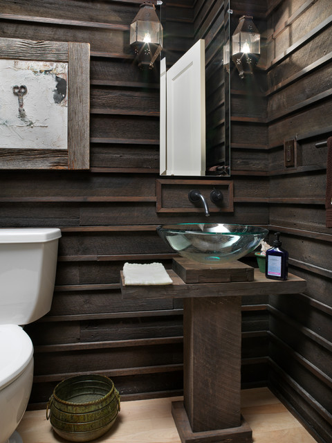 How to Paint Wood Paneling Powder Room Rustic with 12 Bath Beveled Mirror