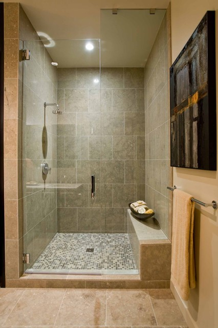 how to seal grout Bathroom Contemporary with glass shower door master
