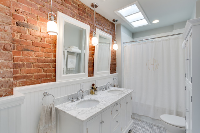 How to Seal Grout Bathroom Traditional with Beadboard Brick Brick Wall