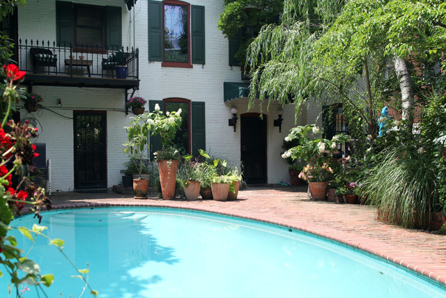 How to Whitewash Brick Pool Traditional with Balcony Brick Patio Bushes