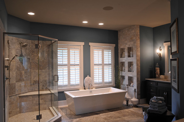 hunter douglas shutters Bathroom Contemporary with blue and brown blue