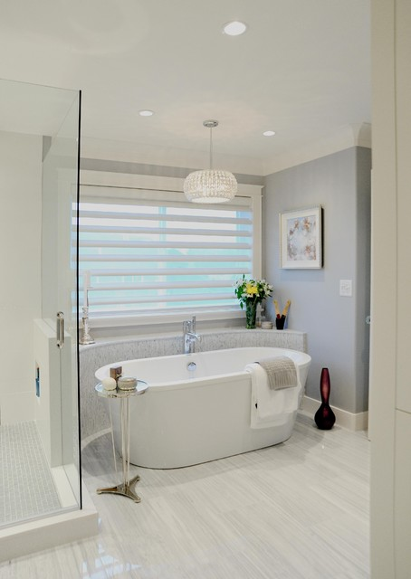 Hunter Douglas Shutters Bathroom Traditional with Blinds Chrome Freestanding Tub1