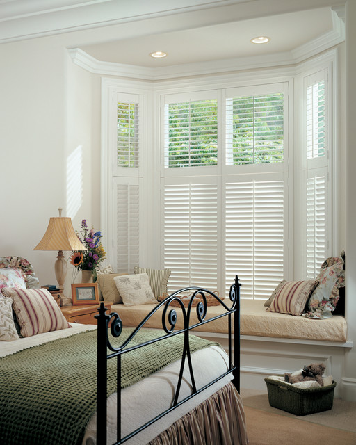 Hunter Douglas Shutters Bedroom Traditional with 2 12 Inch Louvers